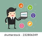 businessman holding laptop with ... | Shutterstock .eps vector #232806349