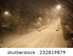 a lot of snowfall and empty road | Shutterstock . vector #232819879