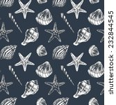 seamless pattern with sea shell    Shutterstock . vector #232844545