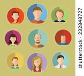 faces circle flat icons set | Shutterstock .eps vector #232848727