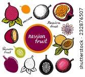 passion fruit  leaves  flower ... | Shutterstock .eps vector #232876507