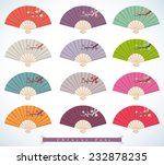 set of decorative folding fans.  | Shutterstock .eps vector #232878235