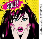 pop art woman sale sign. vector ... | Shutterstock .eps vector #232886245