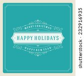 christmas retro typography and... | Shutterstock .eps vector #232916935