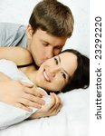 happy young man and woman wake... | Shutterstock . vector #23292220