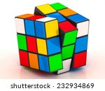 Rubik's Cube On A White...