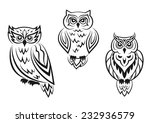 black and white owl bird... | Shutterstock .eps vector #232936579