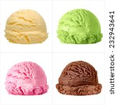 Stock photo strawberry chocolate mango and green tea isolated scoops of ice cream on white background 232943641