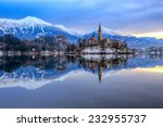 Small photo of Amazing sunrise at the lake Bled in winter, Slovenia, Europe