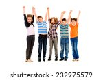 children stand and wave their... | Shutterstock . vector #232975579