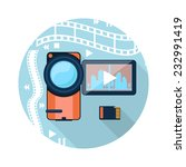 video camera with cinema tape... | Shutterstock . vector #232991419