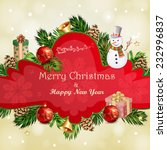 christmas illustration with... | Shutterstock .eps vector #232996837