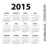 2015 calendar  vector   Shutterstock .eps vector #233023654