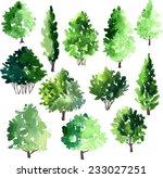set of different deciduous... | Shutterstock .eps vector #233027251
