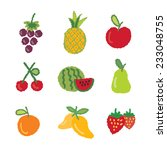 fruit icons collection   vector ... | Shutterstock .eps vector #233048755