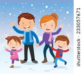 winter fun. cheerful family in... | Shutterstock .eps vector #233057671