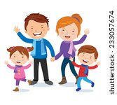 cheerful family in winter... | Shutterstock .eps vector #233057674