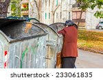 homeless woman is searching for ... | Shutterstock . vector #233061835