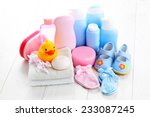 baby accessories on white wood  ... | Shutterstock . vector #233087245