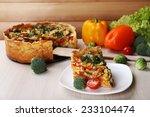 piece of vegetable pie with... | Shutterstock . vector #233104474