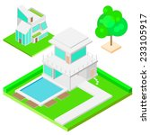 modern house and tree isometric ... | Shutterstock .eps vector #233105917