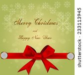 merry christmas with red ribbon | Shutterstock .eps vector #233113945