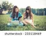beautiful hipster young women... | Shutterstock . vector #233118469