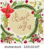 color watercolor christmas fir... | Shutterstock . vector #233132107