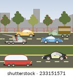 outside the city  the traffic... | Shutterstock .eps vector #233151571