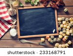 vintage chalkboard and italian food ingredients - stock photo