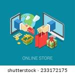 flat 3d isometric online store... | Shutterstock .eps vector #233172175
