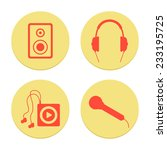 flat musical icons set on white ...