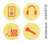 flat musical icons set on white ...