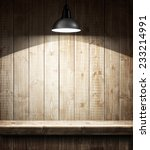 Empty Wooden Shelf Under The...
