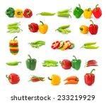 set of chilli  pepper isolated...   Shutterstock . vector #233219929
