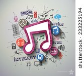 music and entertainment collage ... | Shutterstock .eps vector #233225194