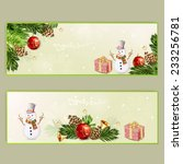 set of two christmas banners.   Shutterstock .eps vector #233256781