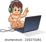 small baby with laptop | Shutterstock .eps vector #233273281