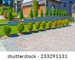 nicely trimmed bushes along... | Shutterstock . vector #233291131