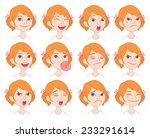 set of cartoon cute caucasian... | Shutterstock .eps vector #233291614