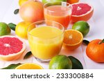 juices and many citrus close up   Shutterstock . vector #233300884