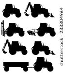 set icons tractors black... | Shutterstock .eps vector #233304964
