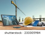 blueprints  safety helmet and... | Shutterstock . vector #233305984