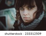 cold woman portrait with filter   Shutterstock . vector #233312509