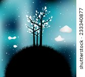 tree silhouette on night time... | Shutterstock .eps vector #233340877