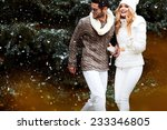 happy couple near a christmas... | Shutterstock . vector #233346805