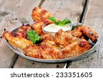 baked chicken wings with sauce... | Shutterstock . vector #233351605