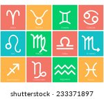 zodiac symbol icons on color... | Shutterstock .eps vector #233371897