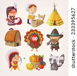 set of thanksgiving items and... | Shutterstock .eps vector #233395627