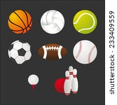sports balls and equipment... | Shutterstock . vector #233409559